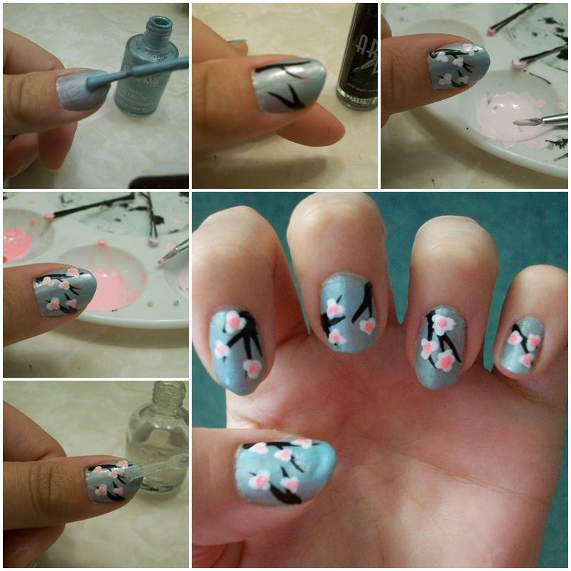 DIY Cherry Blossom Nail Art