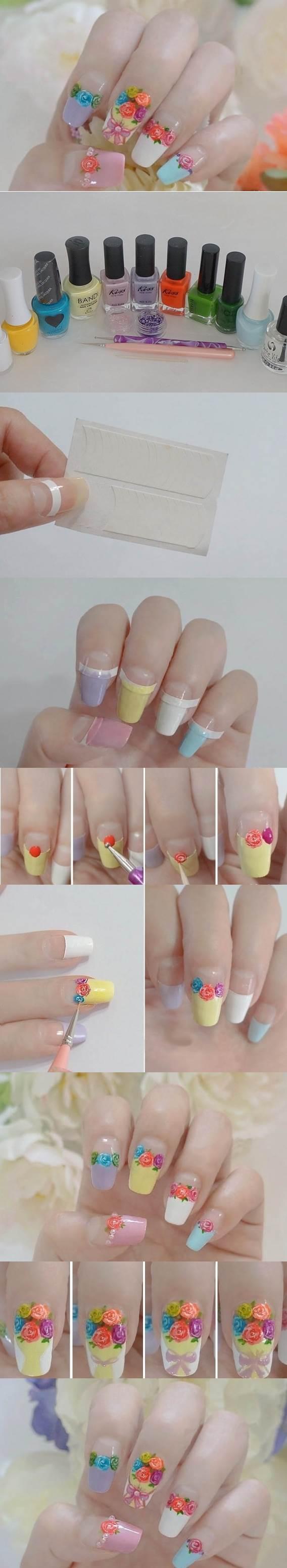 DIY Colorful Roses Nail Art 2