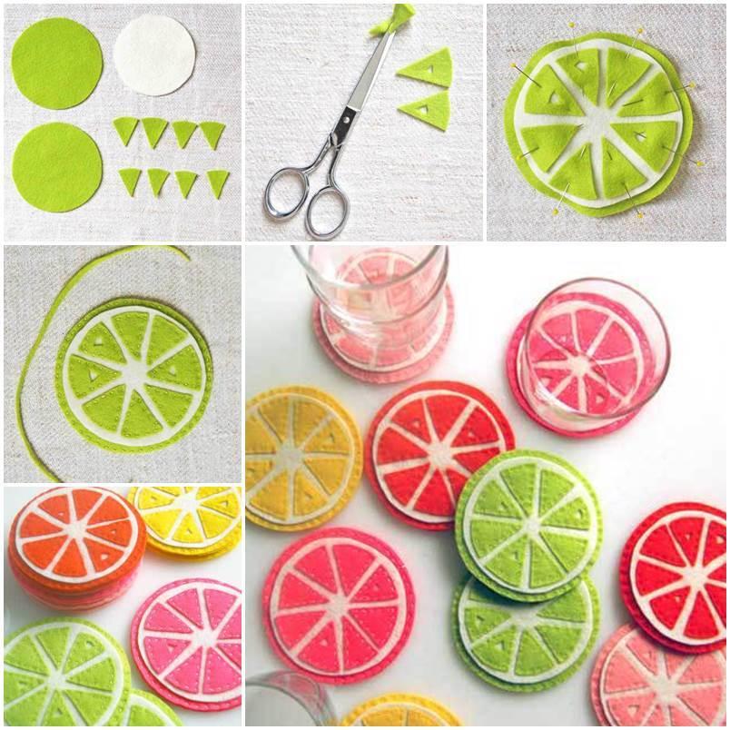 DIY Cute Colorful Felt Coasters