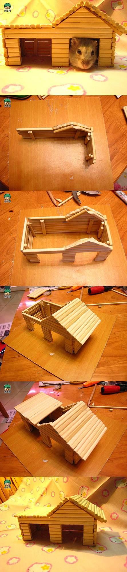 DIY Hamster House with Chopsticks