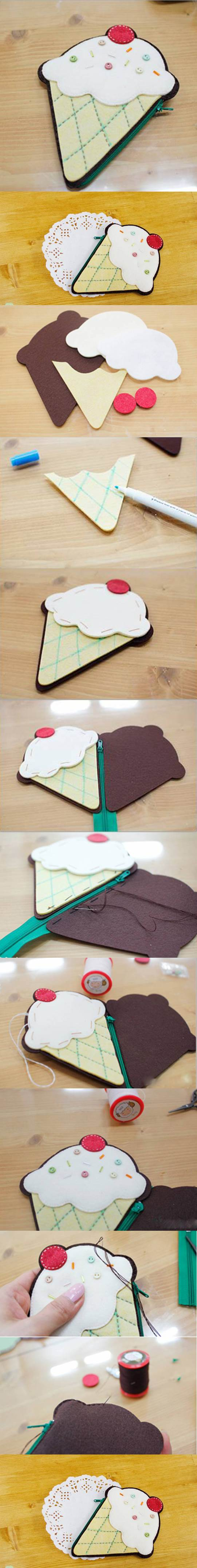 DIY Ice Cream Shaped Coin Purse 2