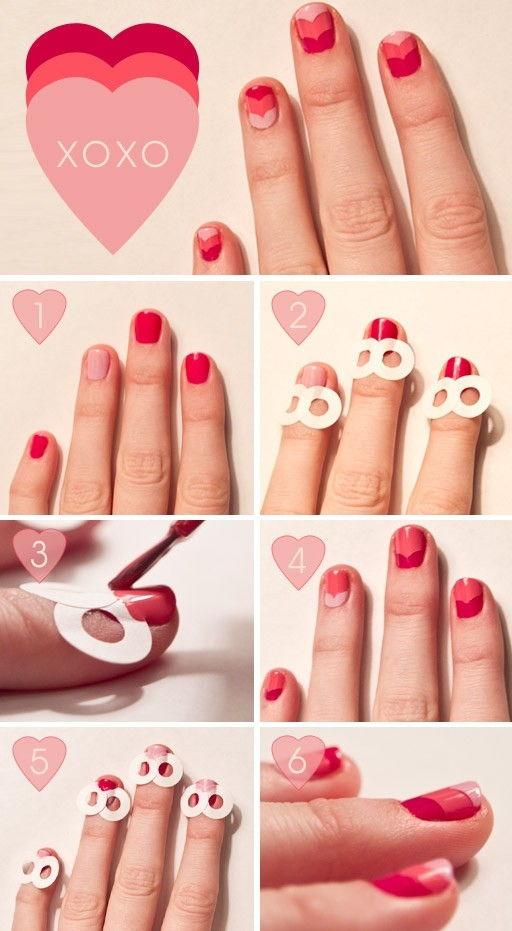 DIY Layered Hearts Nail Art