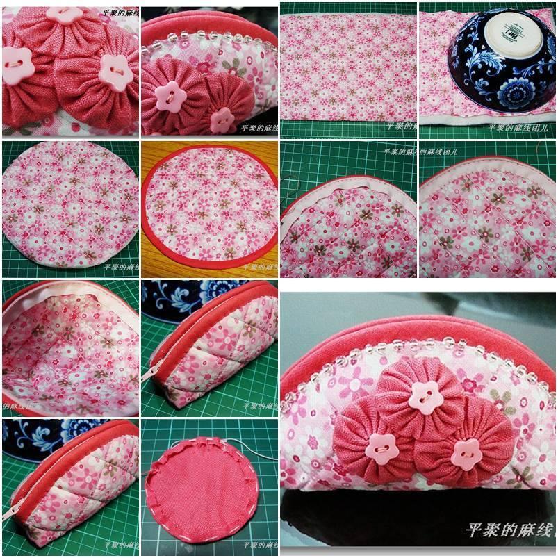 DIY Cute Fabric Cosmetic Bag
