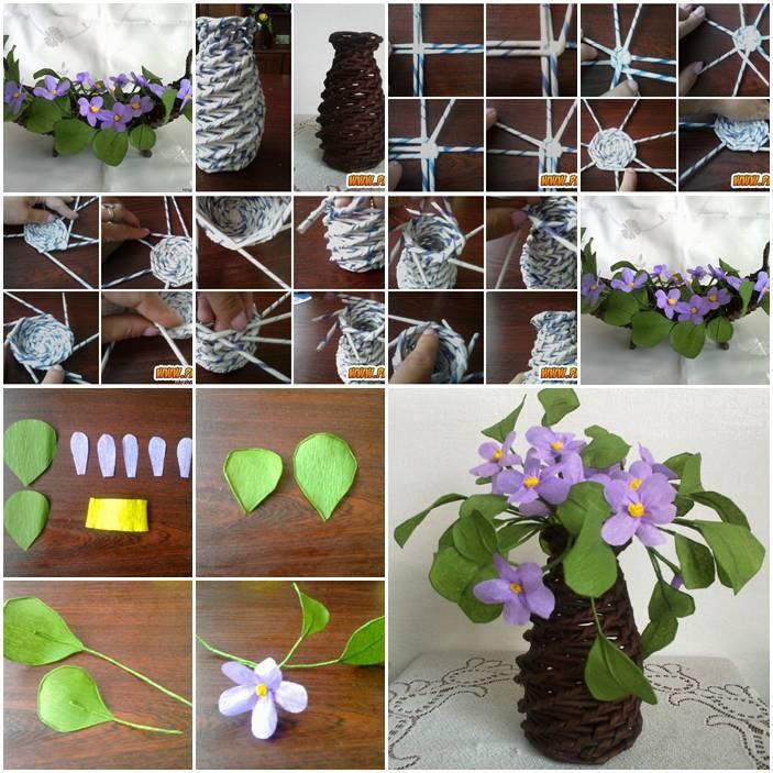 DIY Beautiful Paper Vase And Purple Flowers