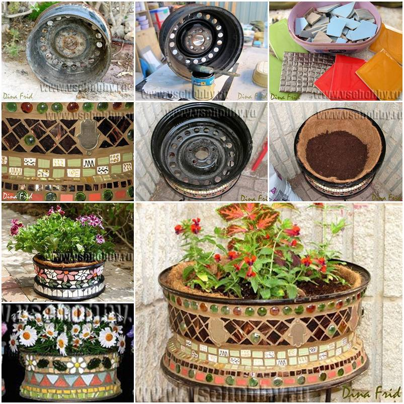 DIY Mosaic Plant Pot from Old Wheel