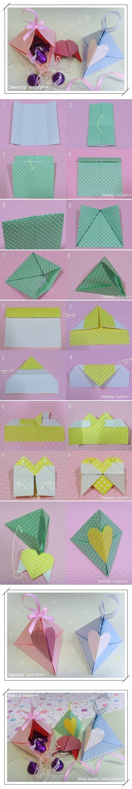 Diy origami triangle heart lock gift box jeuxipadfo Choice Image