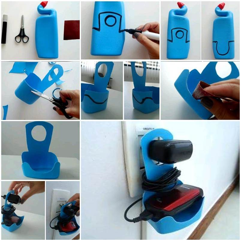 DIY Plastic Bottle Cell Phone Charger Holder
