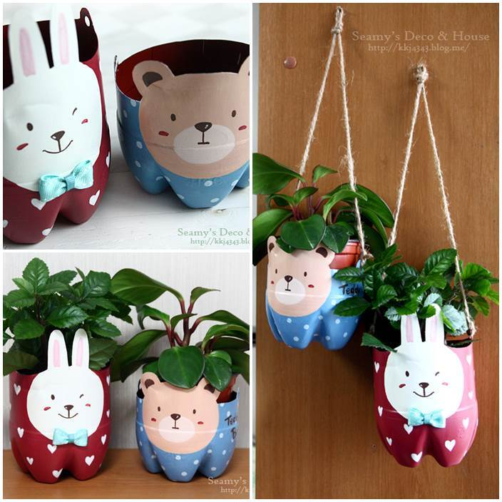 Diy cute plant pots with plastic bottles for Flower pot out of waste material