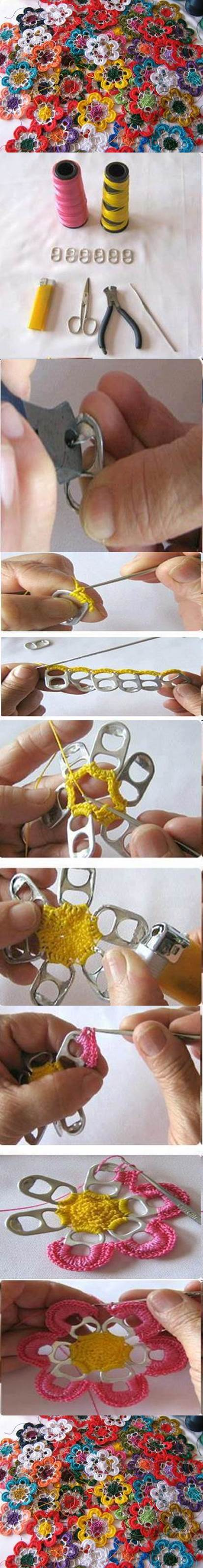 DIY Pull Tabs Crochet Flowers