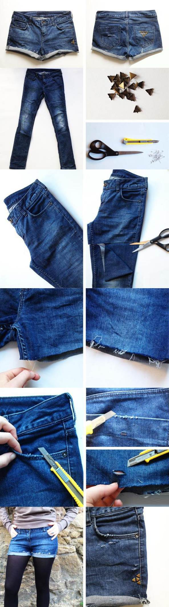 DIY Studded Shorts from Old Jeans 2