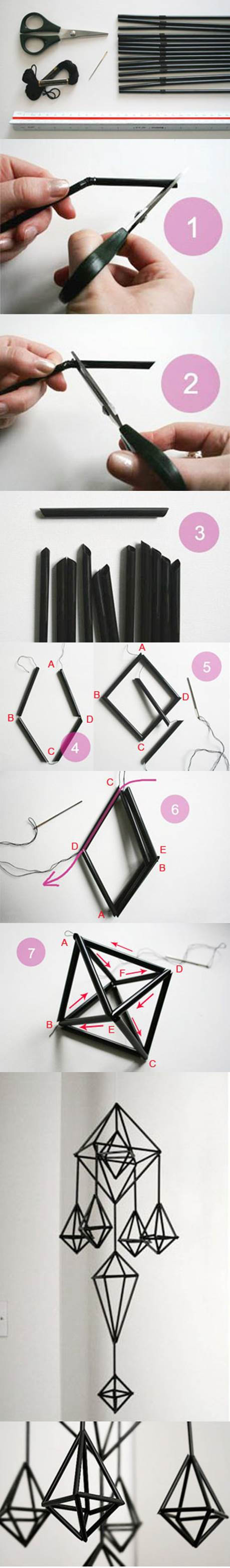 DIY Unique Hanging Decorations from Straws 2