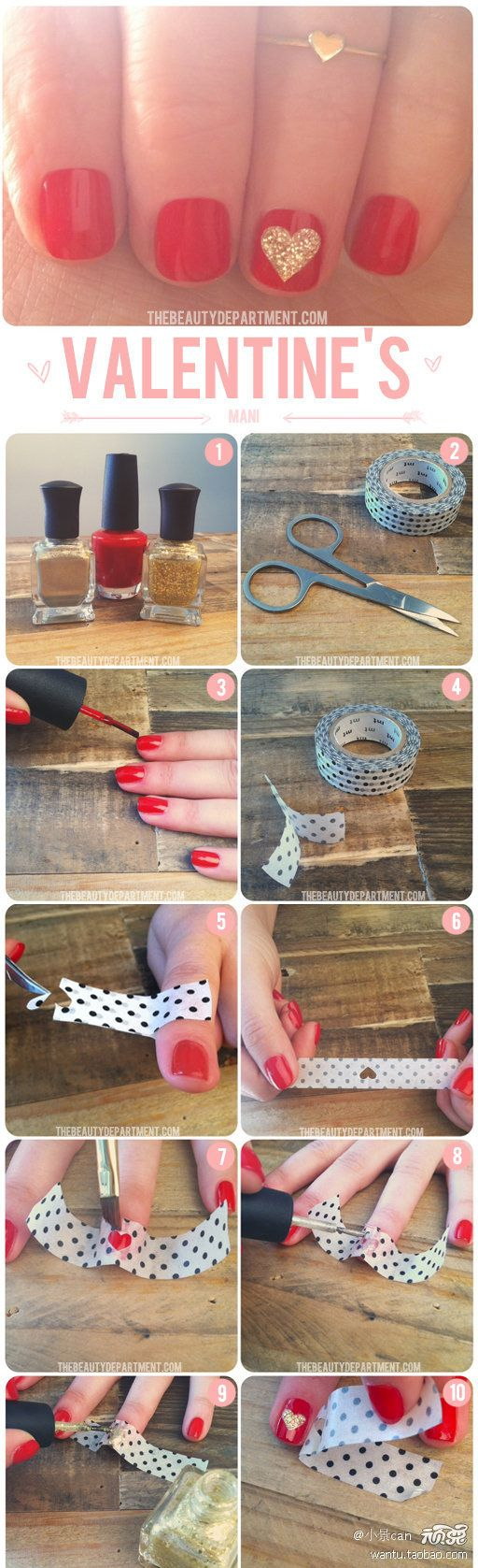 DIY Valentines Heart Nail
