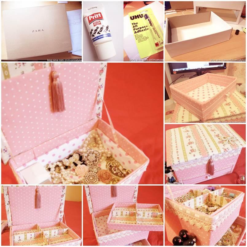 diy vintage floral cardboard jewelry box. Black Bedroom Furniture Sets. Home Design Ideas