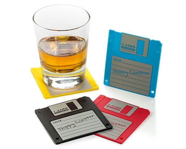 10 Creative Ways to Repurpose Your Old Tech Products --> Floppy Disk Coasters