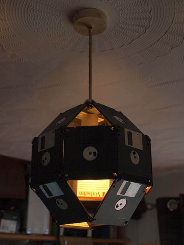 10 Creative Ways to Repurpose Your Old Tech Products --> Floppy Disk Lampshade