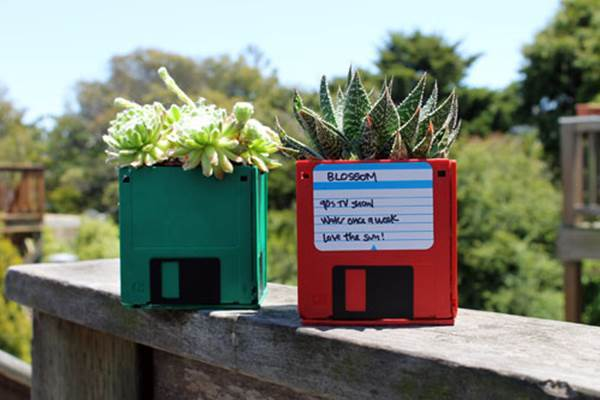10 Creative Ways to Repurpose Your Old Tech Products --> Floppy Disk Planters
