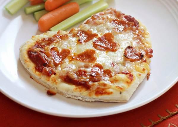 Heart Shaped Homemade Pepperoni Pizza