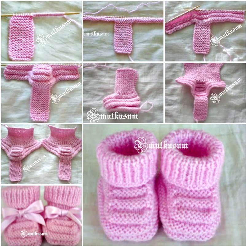 a194e3e644100 DIY Adorable Knitted Baby Booties
