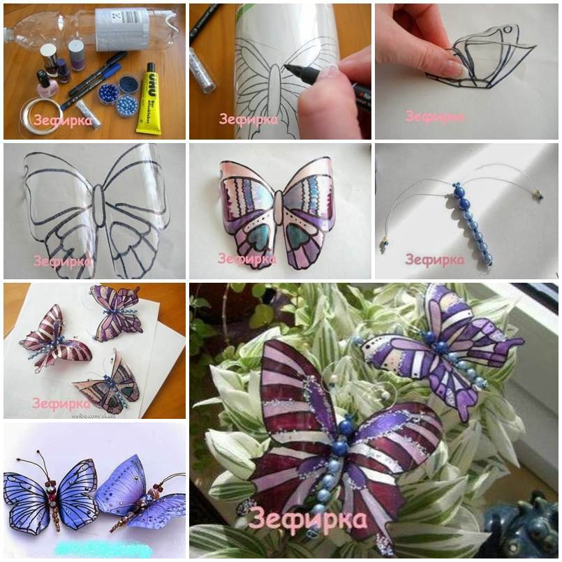 DIY Beautiful Butterflies from Plastic Bottles 1