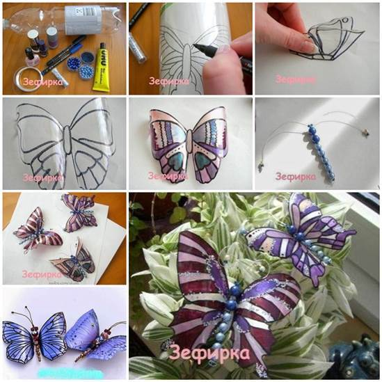 DIY Beautiful Butterflies from Plastic Bottles 3