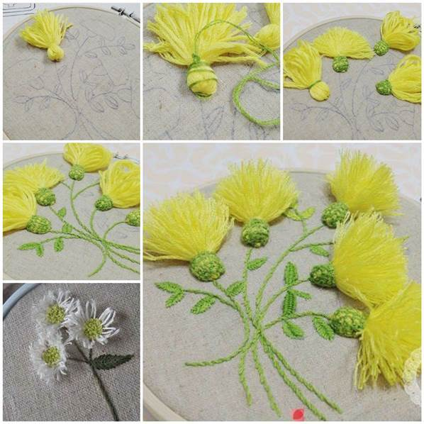 Diy beautiful embroidered flowers