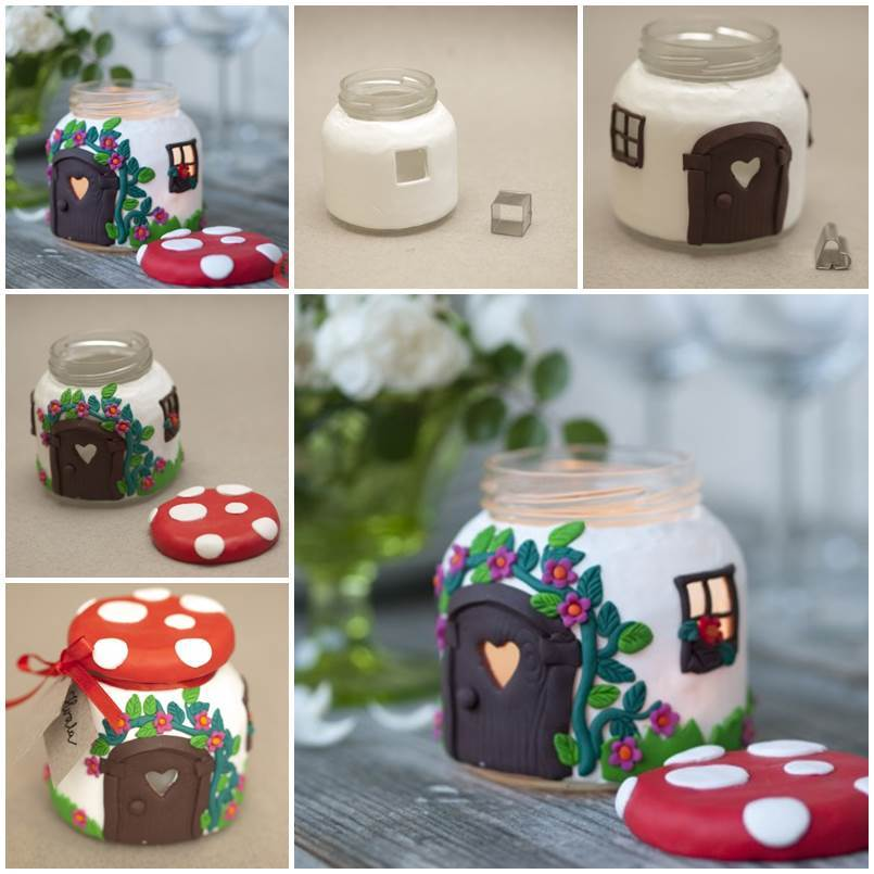 DIY Beautiful Mushroom House Candle Holder from a Jar