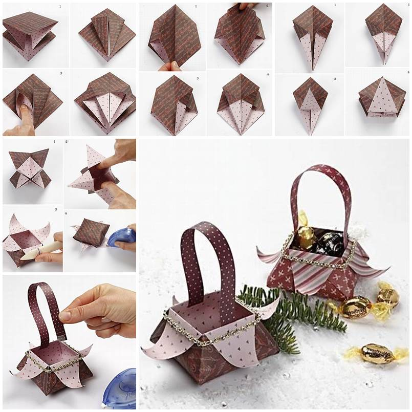 DIY Beautiful Origami Gift Basket - photo#27