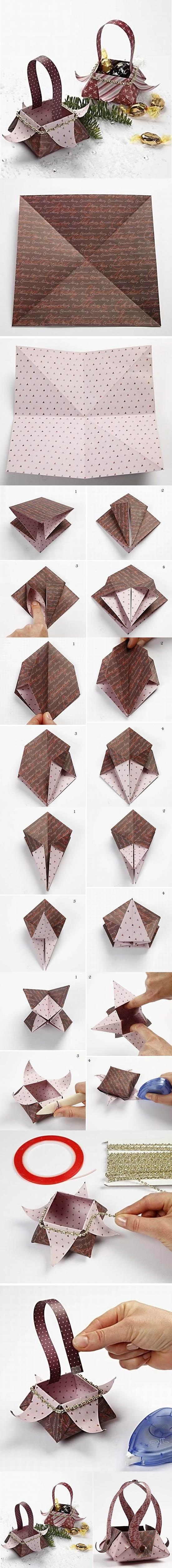 DIY Beautiful Origami Gift Basket 2