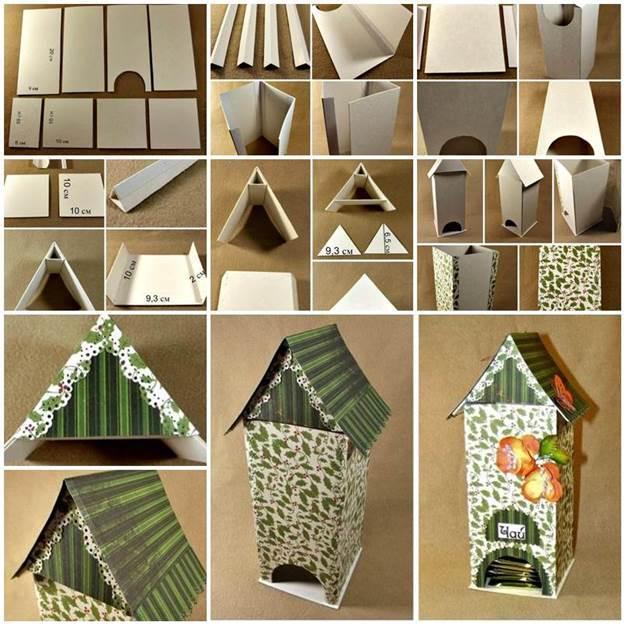 DIY Bird House Shaped Cardboard Tea Bag Dispenser
