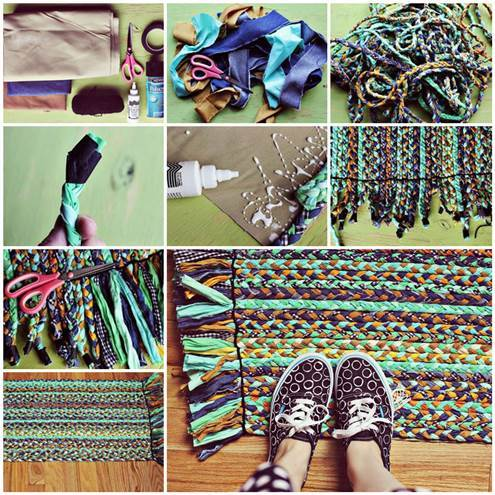 Diy Braided Mat From Fabric Scraps