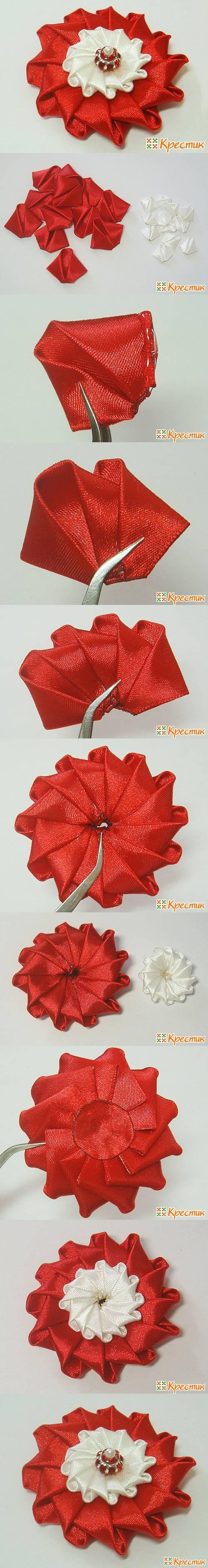 DIY Bright Satin Ribbon Flower