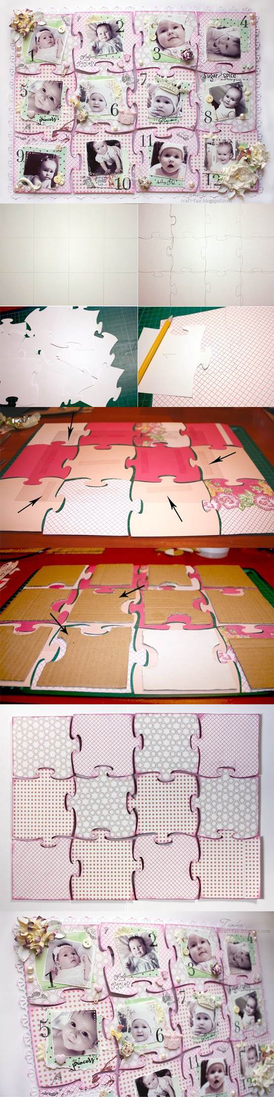 DIY Cardboard Collage Puzzle Baby Picture Frame