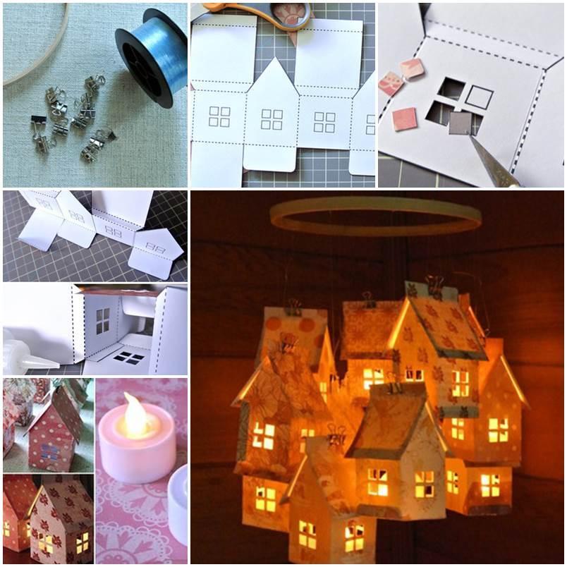 DIY Cardboard Small Village Shaped Lantern
