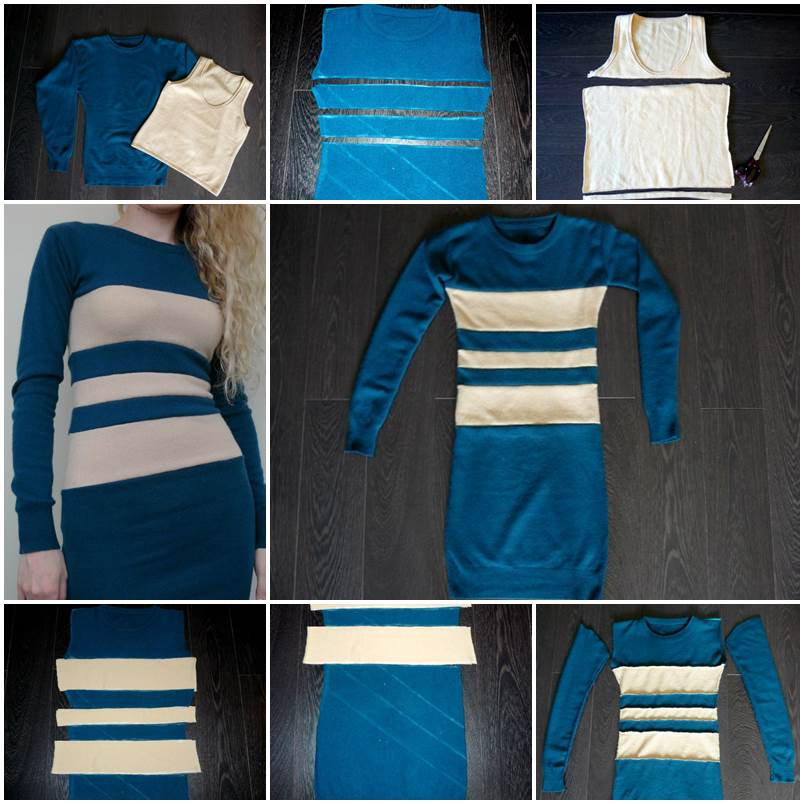 DIY Color Block Dress From Sweatshirt And Tank