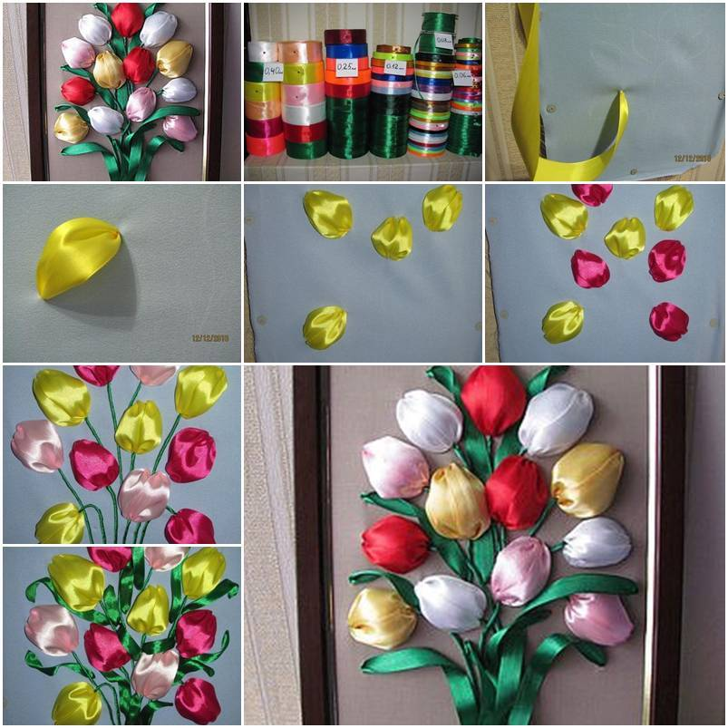 Diy colorful satin ribbon tulips for Flower making ideas step by step