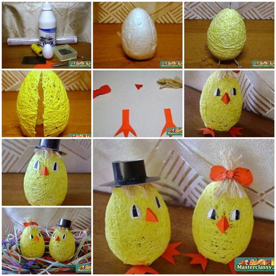Diy Cute Egg Shaped Easter Chicks From Thread