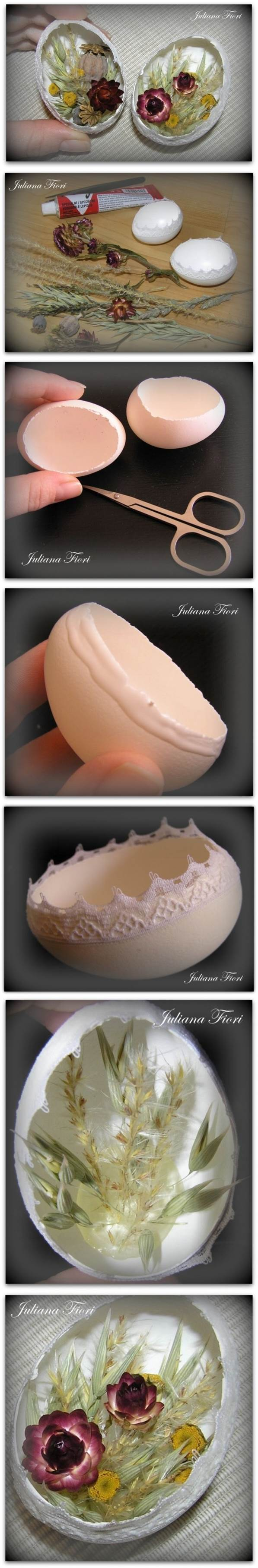 DIY Decorated Eggshell with Lace and Dried Flowers 2