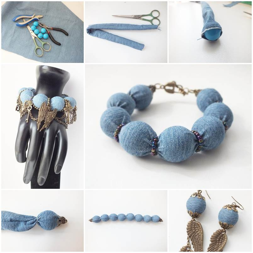 diy denim wrapped beads bracelet