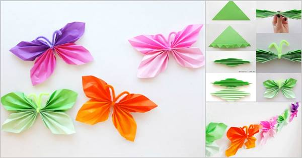 paper butterfly craft ideas diy easy folded paper butterflies 5072