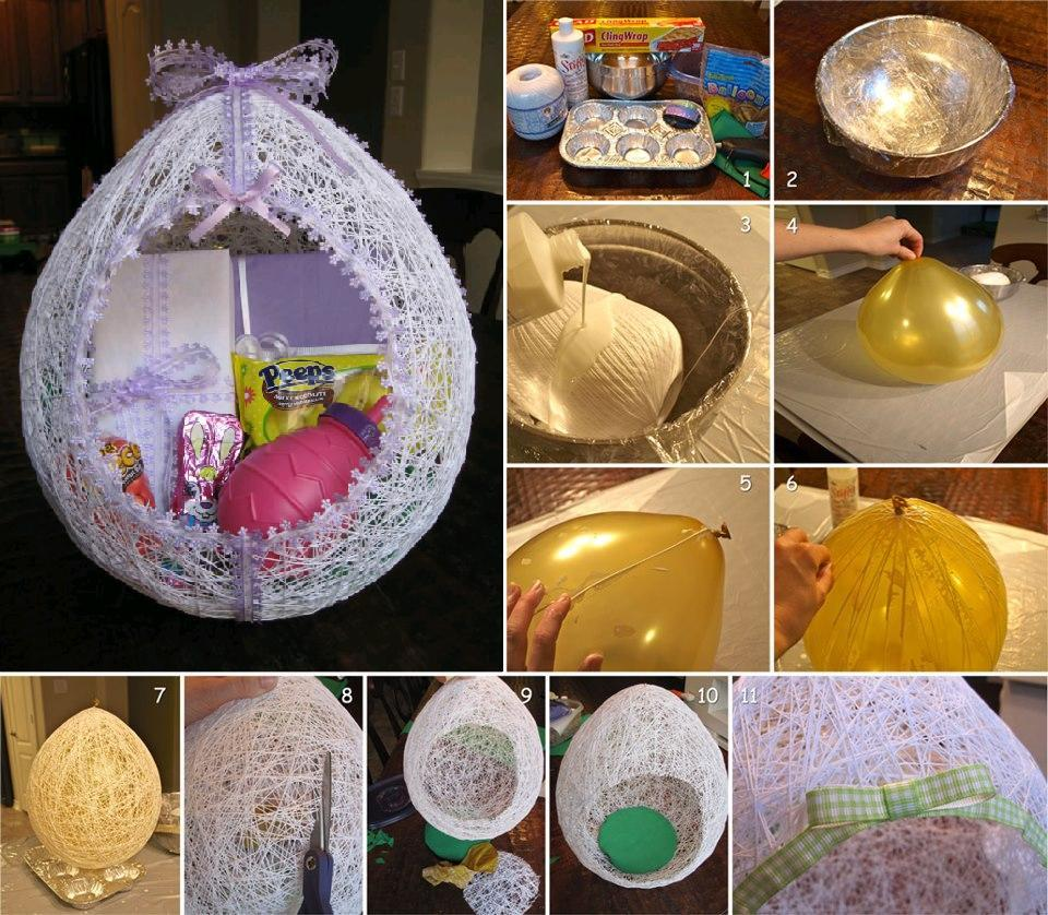 Diy egg shaped easter string basket diy egg shaped easter basket from string negle Images