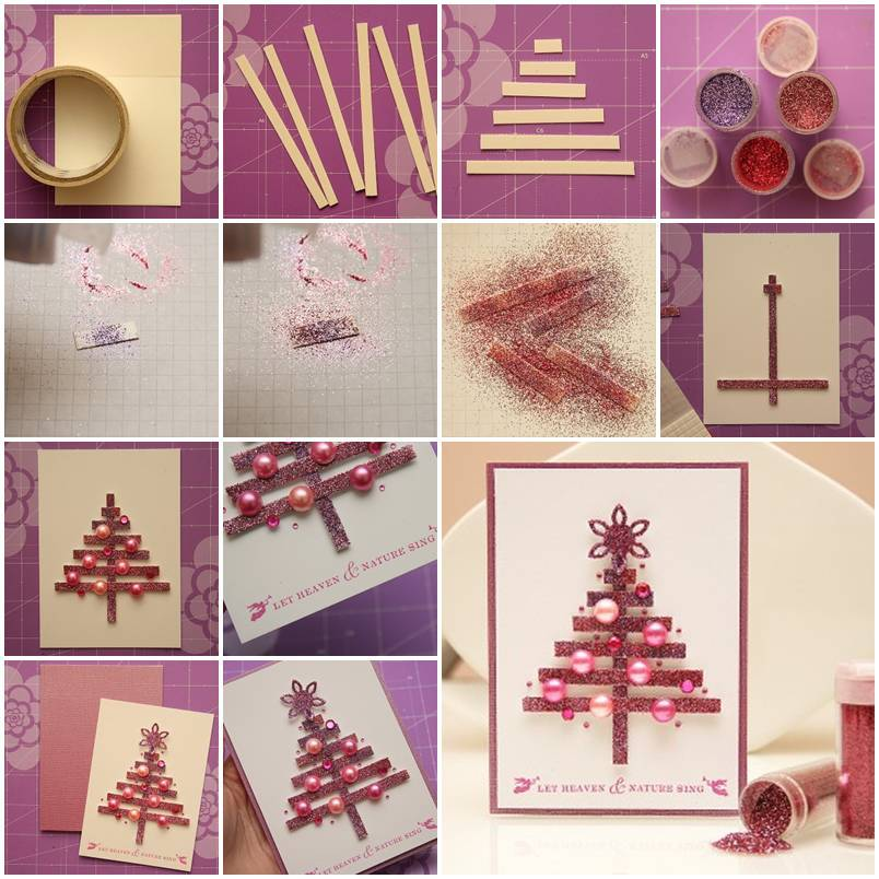 DIY Glittering Strips Christmas Tree Card