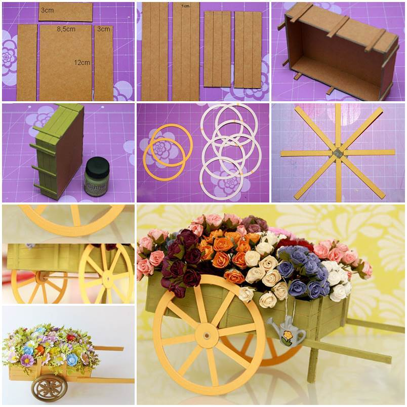 DIY Little Cardboard Wagon Carrying Flowers Decoration