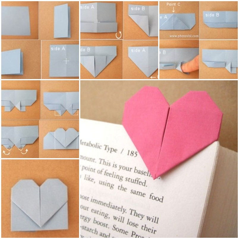Diy origami heart shaped bookmark for Diy paper origami