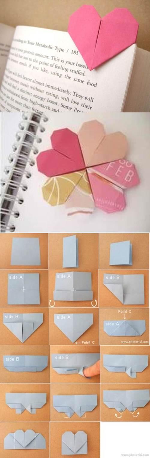 DIY Origami Heart Shaped Bookmark 2