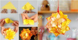 How to make - Kusudama Flower Ball || kusudama flower bouquet ... | 174x332
