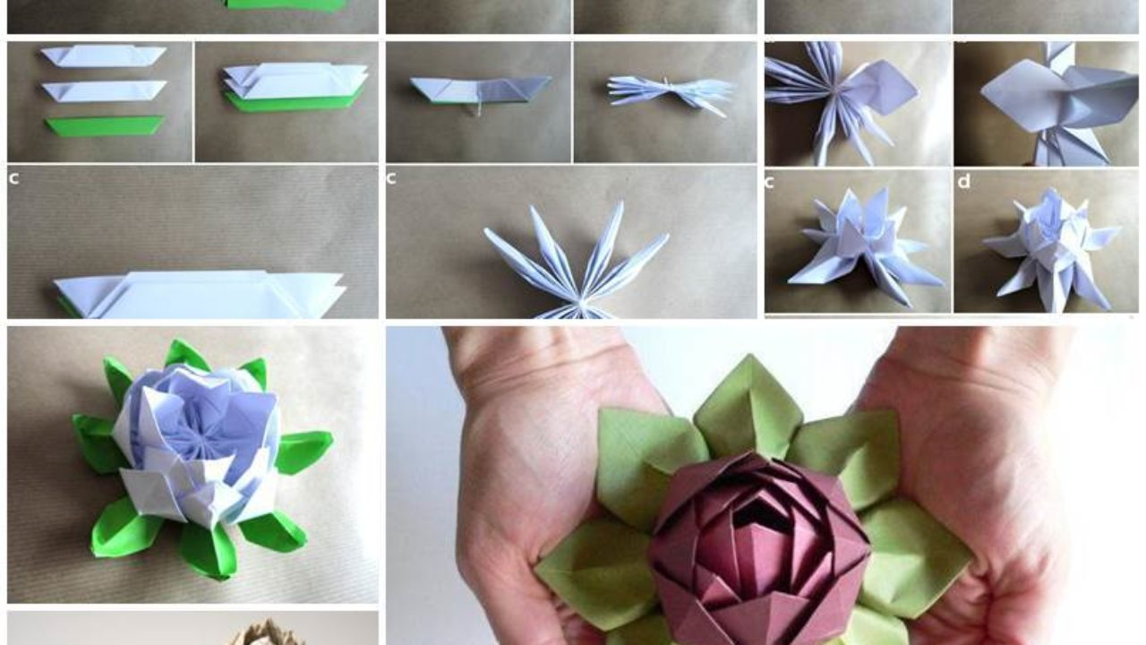 How To Make An Origami Lotus Flower - Folding Instructions ... | 720x1280