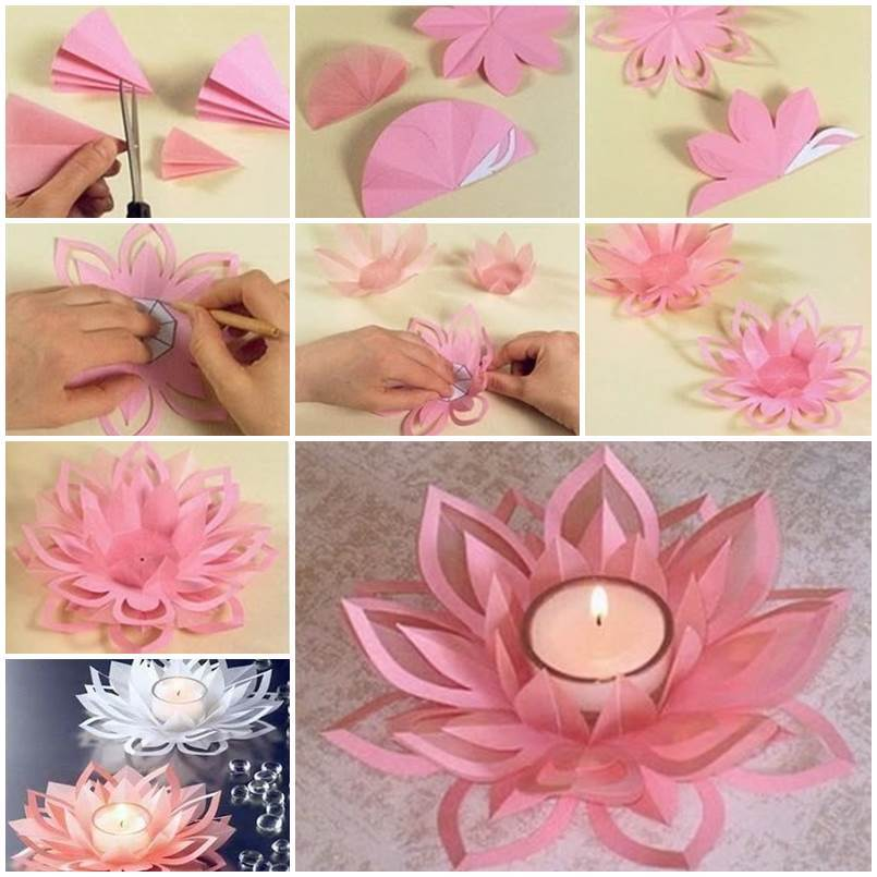 Diy paper lotus candlestick mightylinksfo