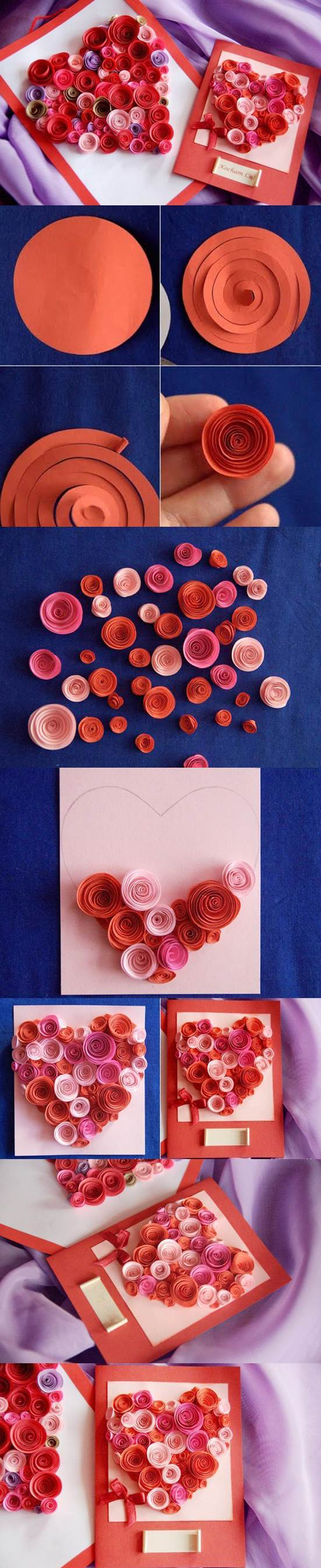 DIY Paper Swirls Heart Shaped Card 2