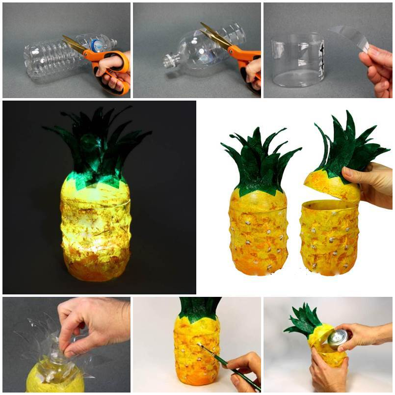 Diy Pineapple Lamp From Plastic Bottles