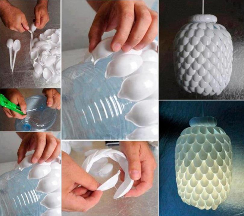 DIY Plastic Spoon Chandelier